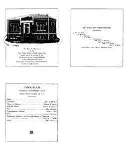 1912, Sep. 24, Dedication Program Source: Spirit Lake Public Library